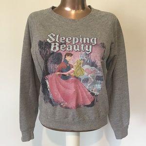 DISNEY Sleeping Beauty Princess Gray Crew Sweater